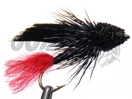 Muddler All Black Red Tag